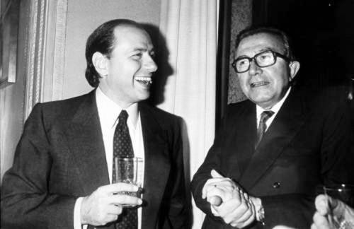 SILVIO BERLUSCONI E GIULIO ANDREOTTI 12-06-1984 ROMA