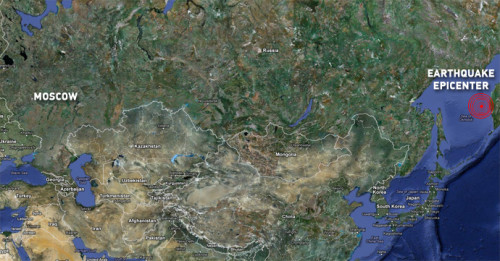 La mappa del terremoto in Russia, epicentro nel Mare di Okhotsk in Sakhalin la regione del Kamchatka sovietico distante migliaia di Km da Mosca