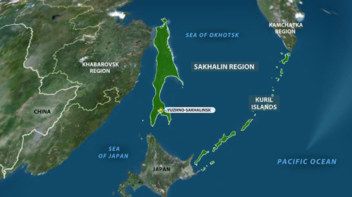 Le Kuril Islands epicentro del terremoto