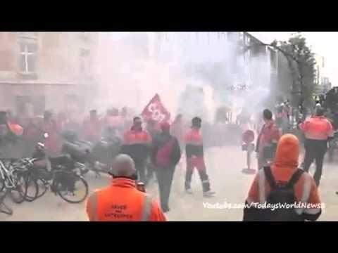 Bruxelles 4 Aprile 2014 : Scontri tra manifestanti e polizia
