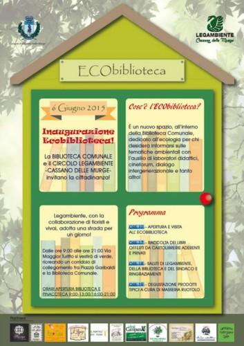 Locandina ECO-BIBLIOTECA A CASSANO MURGE 06.06.2015