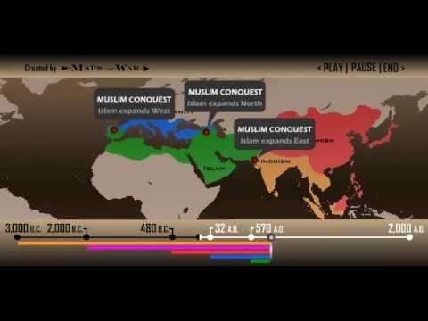 Mappa mondiale animata della diffusione delle religioni