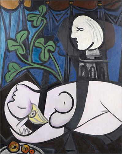 Nudo, foglie verdi e busto di Picasso