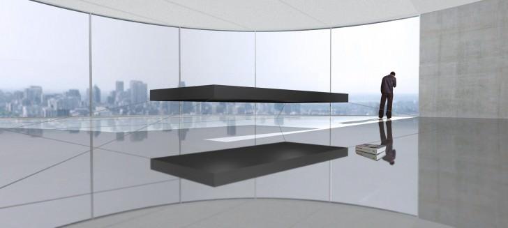 """Letto galleggiante magnetico di Janjaap Ruijssenaars. Il letto è stato progettato per assomigliare al Monolito del film di Kubrick """"2001 Odissea nello spazio""""."""