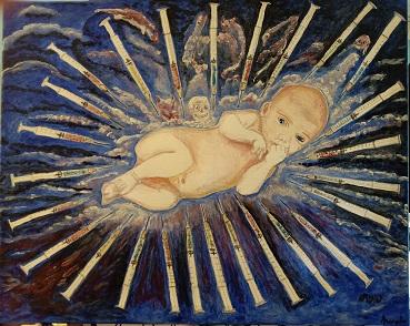 GOD IS NOT DEAD Acrilic on canvas 40x50 cm - luglio 2021 Artist Michele Forina