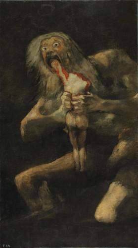 """SATURNO DIVORA I SUOI FIGLI  Francisco Goya, Saturno divora i suoi figli (1820-1823; olio su intonaco trasportato su tela, 143,5 x 81,4 cm; Madrid, Prado) Il dio Saturno (Crono per i greci), re degli dèi, avendo saputo dai suoi genitori Gea e Urano che uno dei suoi figli lo avrebbe spodestato, ebbe l'idea di divorarli per non permettere che qualcuno di loro lo cacciasse dal trono. Il suo destino però si compì comunque, perché Giove (Zeus) riuscì a scampare di nascosto al massacro (la moglie di Saturno, Rea, lo generò di nascosto) e, divenuto adulto, tornò per sconfiggere il padre. Francisco Goya (Francisco José de Goya y Lucientes; Fuendetodos, 1746 - Bordeaux, 1828), in uno dei suoi dipinti più conosciuti ed efferati, raffigura il dio mentre con sguardo animalesco è in preda a una terribile furia da cannibale e ha già cominciato a divorare uno dei figli (la testa è già stata staccata di netto ed è colto mentre mangia il braccio destro). Il tutto accade nell'oscurità: l'opera fa parte del ciclo passato alla storia come le Pinturas Negras (""""dipinti neri""""), perché tutti caratterizzati dall'utilizzo di colori molto scuri. I dipinti neri decoravano in origine un'abitazione nota come """"Quinta del Sordo"""", appena fuori Madrid, che fu acquistata da Goya nel 1819. Per questo dipinto sono state peraltro fornite interpretazioni che vanno al di là del mero episodio mitologico e delle sue più tradizionali letture (Saturno è anche dio del tempo e il mito è una metafora del tempo che divora ogni cosa): in particolare, potrebbe trattarsi di un'allegoria della follia, o anche una lettura sarcastica della situazione politica del tempo (""""Saturno"""", ha scritto lo storico dell'arte José Rogelio Buendía, """"è simbolo della Spagna assolutista che divora i suoi stessi figli"""")."""